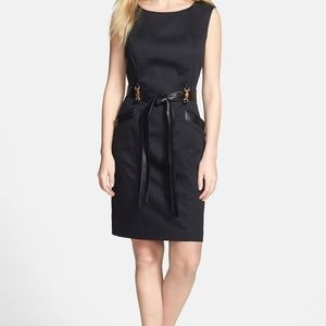Ellen Tracy Leather Trim Sleeveless Sheath Dress